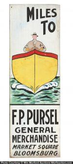 Pursel Folk Art Boat Sign