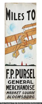 Pursel Folk Art Plane Sign