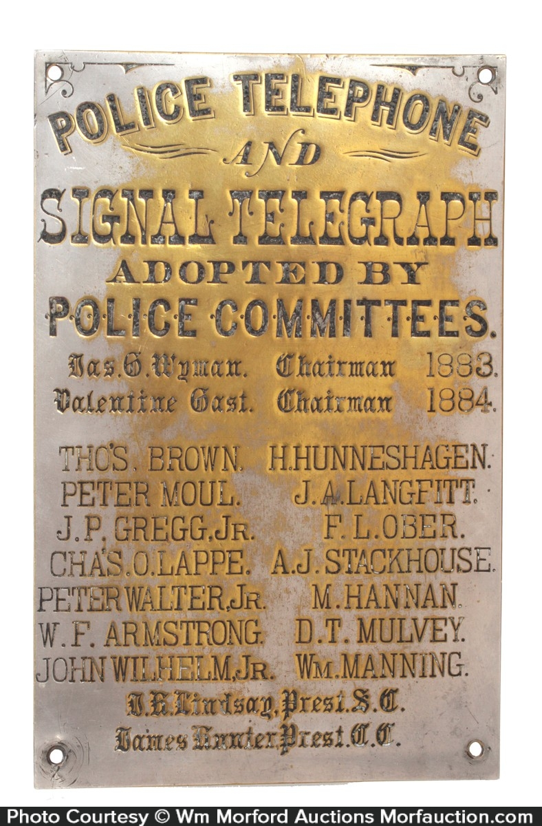 Police Telephone and Telegraph Sign