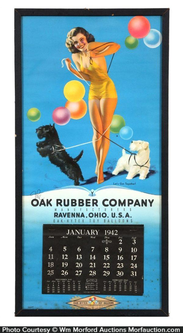 Oak Rubber Company Calendar