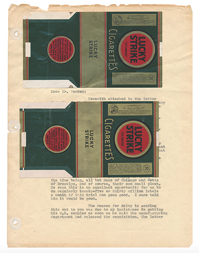 Lucky Strike Cigarettes Prototype Proof Labels