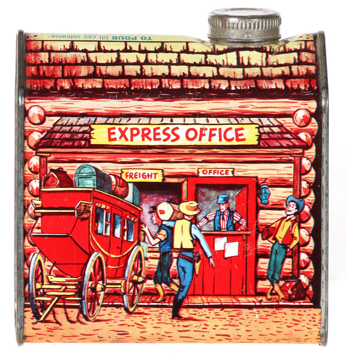 "Log Cabin ""Express Office"" Syrup Tin"