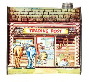 """Large Log Cabin """"Trading Post"""" Tin"""