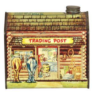 Log Cabin Trading Post Tin