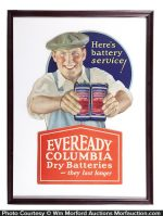 Eveready Columbia Batteries Sign
