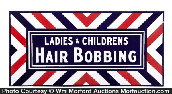 Hair Bobbing Porcelain Sign