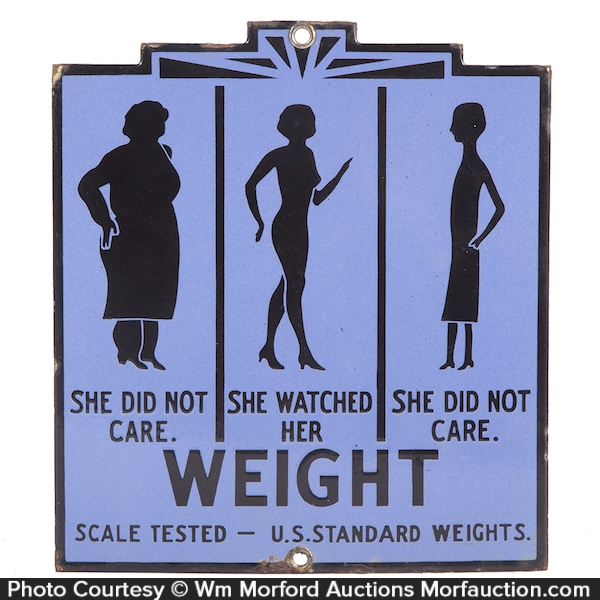 Porcelain Weight Loss Scale Sign