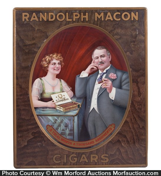 Antique Advertising Randolph Macon Cigars Sign Antique