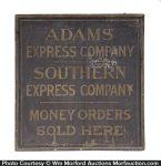Adams Express Company Wooden Sign