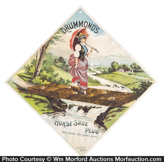 Antique advertising drummond 39 s horse shoe tobacco sign for Drummond cleaning products