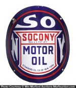 Socony Motor Oil Curved Porcelain Sign