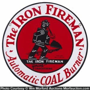 Iron Fireman Porcelain Sign