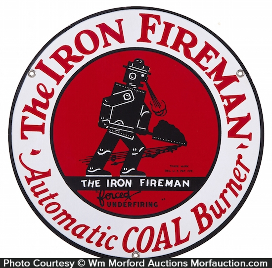 Iron Fireman Porcelain Sign