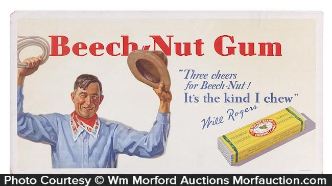 Beech-Nut Gum Will Rogers Sign
