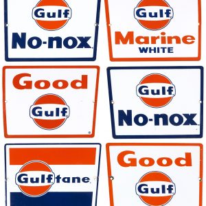 Gulf Oil Pump Plate Signs