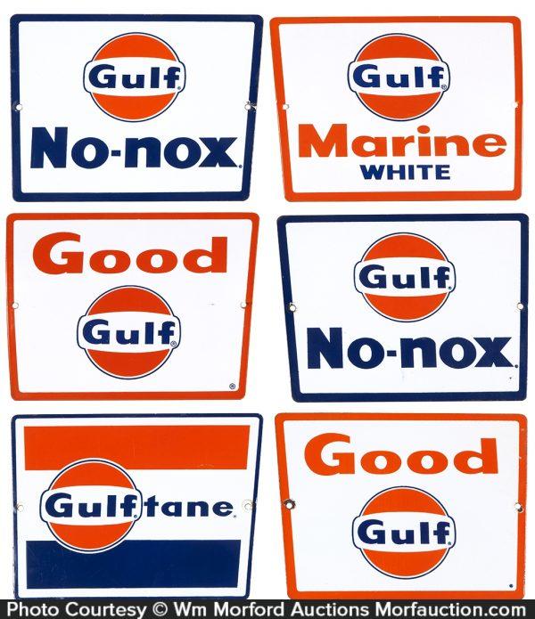 Gulf Oil Pump Plate Signs