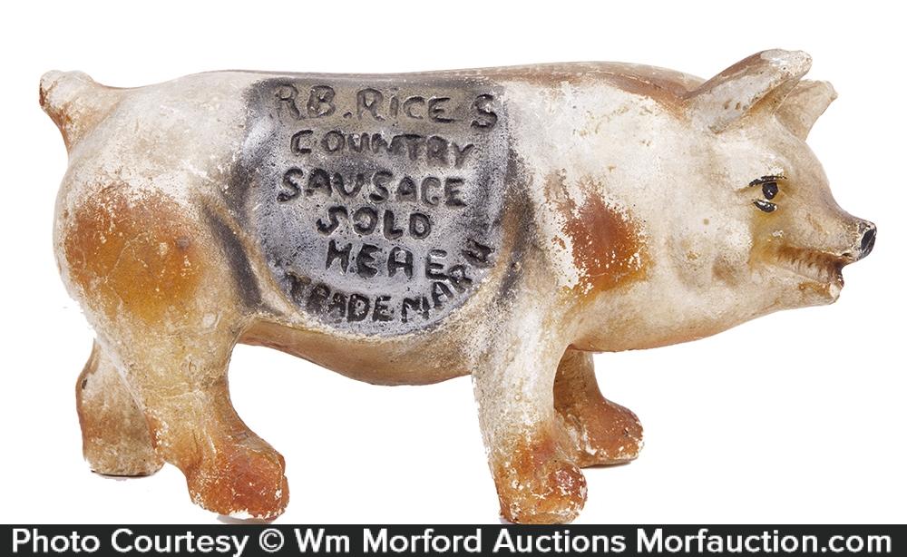 Rice's Sausage Chalkware Pig