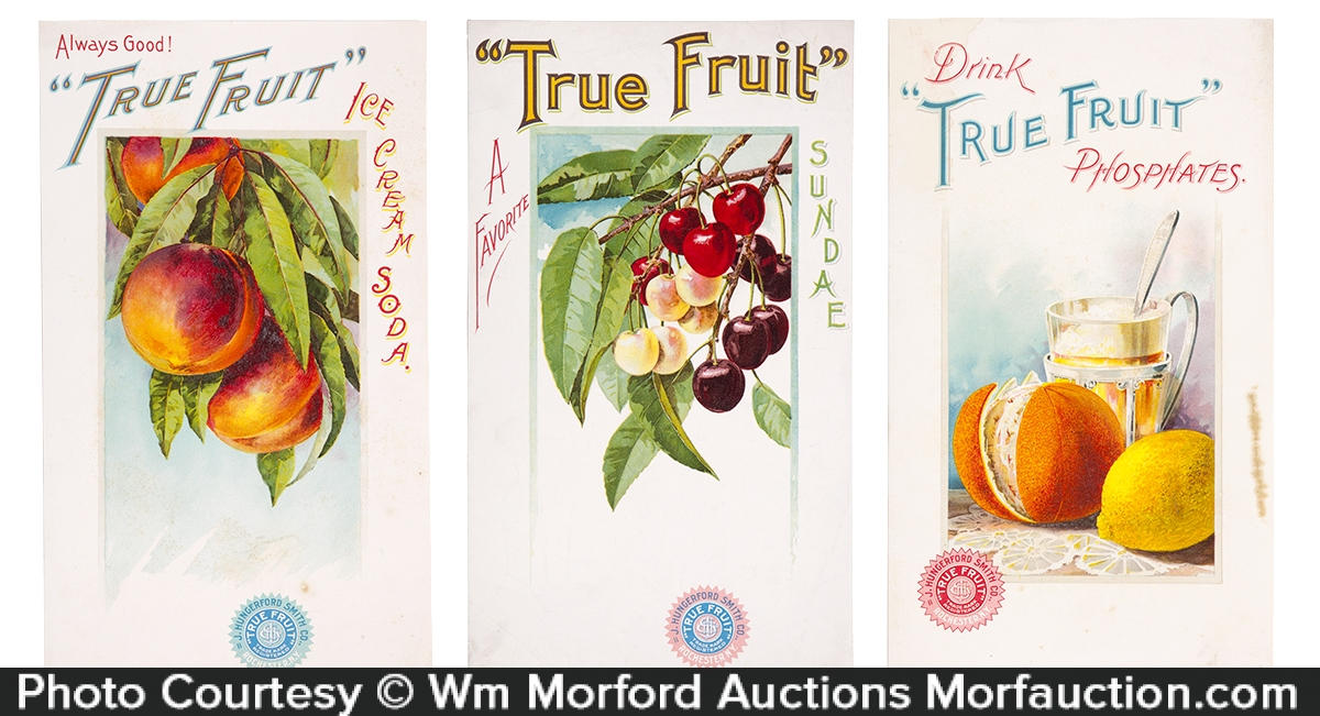 True Fruit Soda Syrup Signs