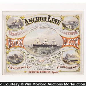 Anchor Line Steam Ships Sign