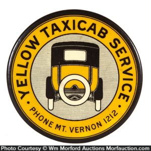 Yellow Taxi Paperweight Mirror