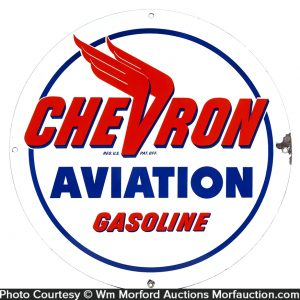 Chevron Aviation Gasoline Porcelain Sign