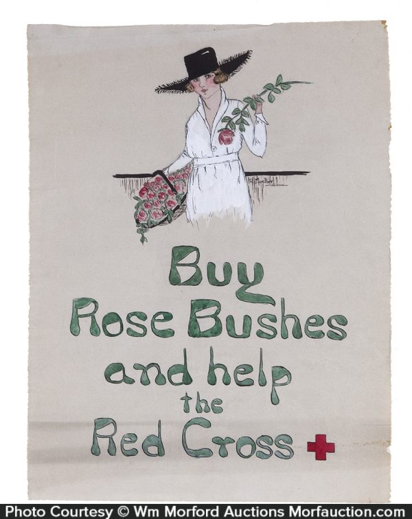Red Cross Rose Bushes Painting