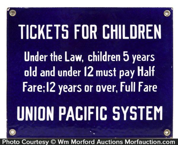Union Pacific Railroad Tickets Porcelain Sign