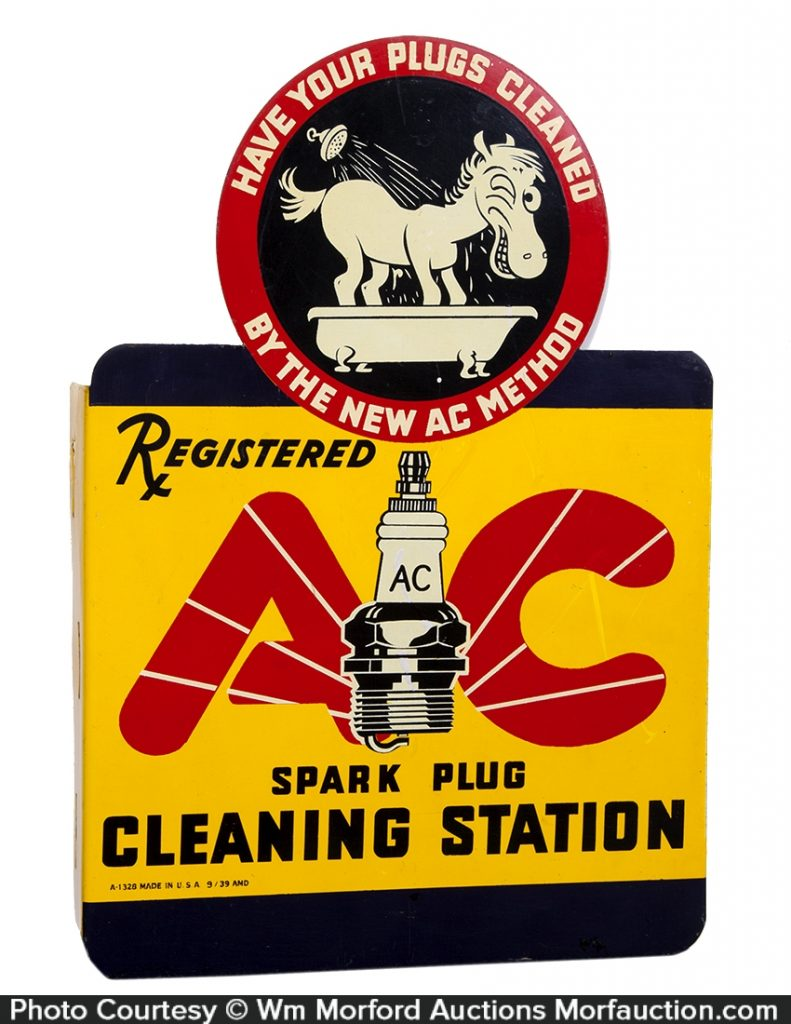 AC Spark Plugs Cleaning Station Sign