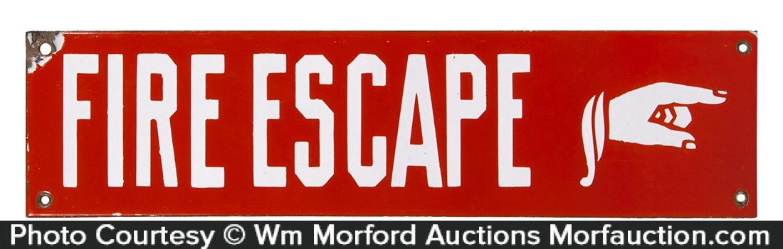 Fire Escape Porcelain Sign