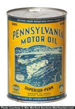 Superior Penn Pennsylvania Motor Oil Can