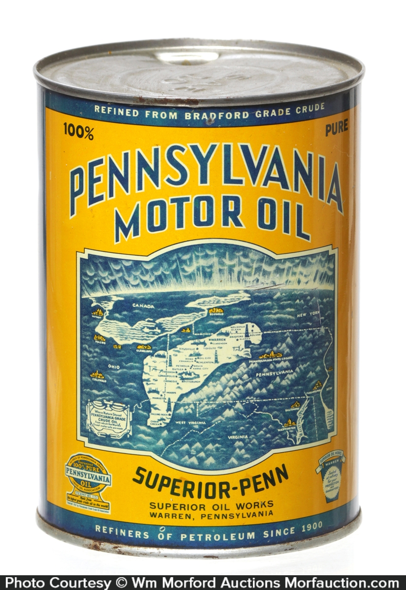 Superior Penn Pennsylvania Motor Oil Can