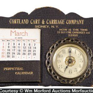 Cortland Carriage Desk Clock and Calendar