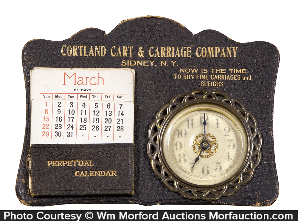 Cortland Carriage Desk Clock and Calendar