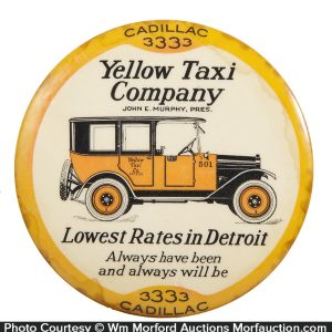 Yellow Taxi Cadillac Paperweight Mirror