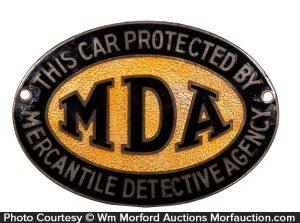 Mercantile Detective Agency MDA Bumper Tag