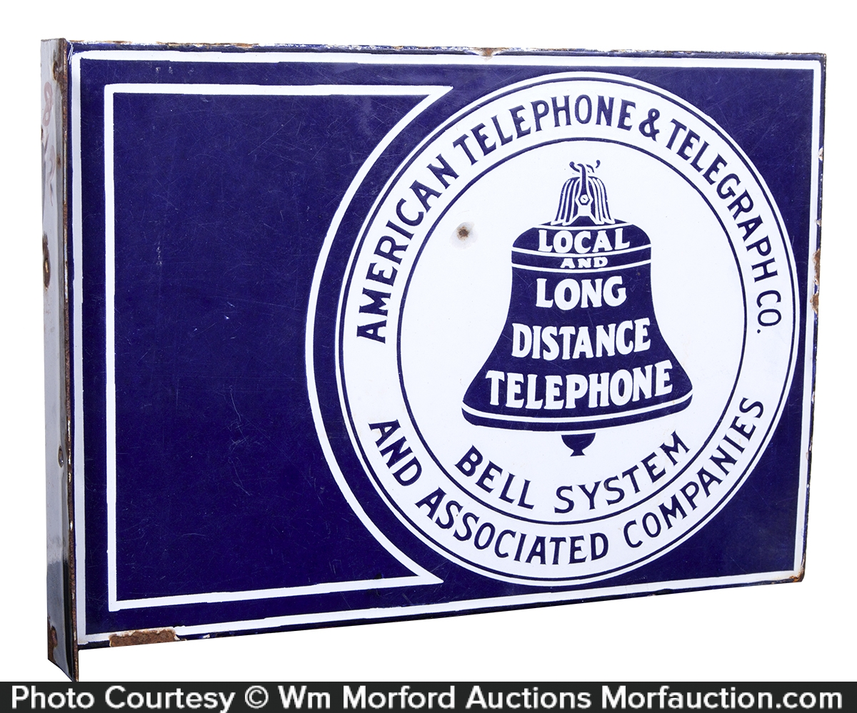 AT&T Bell Porcelain Telephone Sign