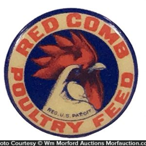 Red Comb Poultry Feeds Pin-Back Button