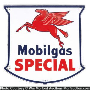Small Mobilgas Special Porcelain Sign