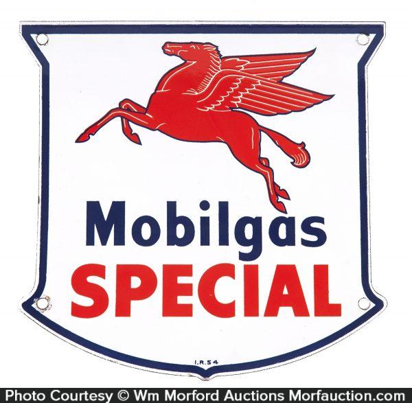 Small Mobilgas Special Porcelain Sign