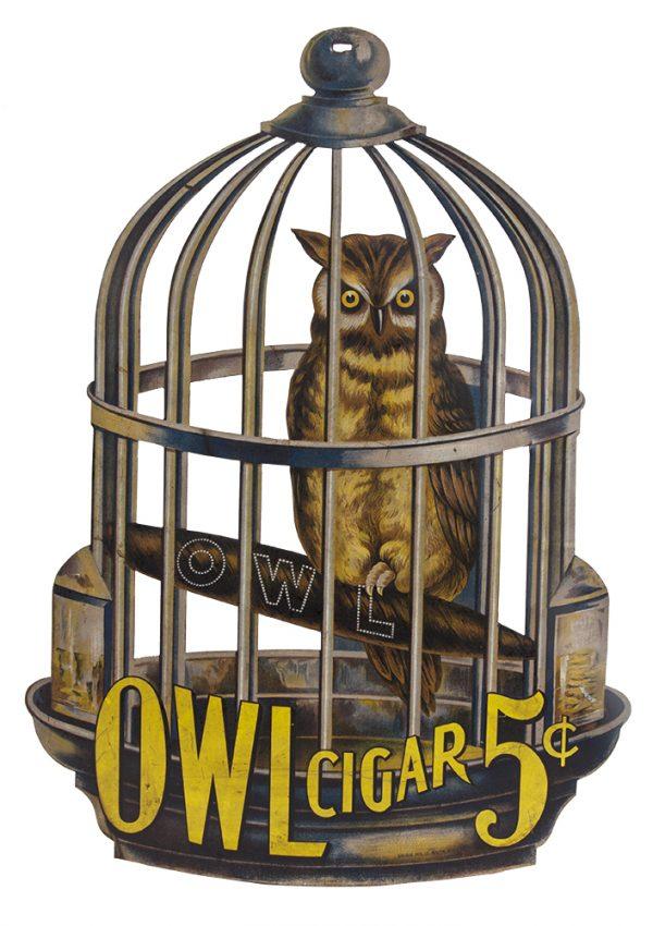 Large Tin Owl Cigar Sign