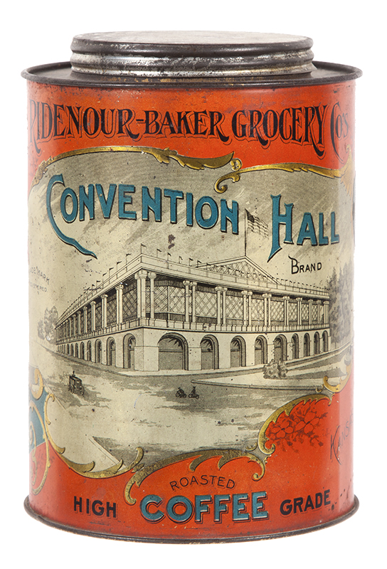 Antique Advertising Convention Hall Coffee Can Antique