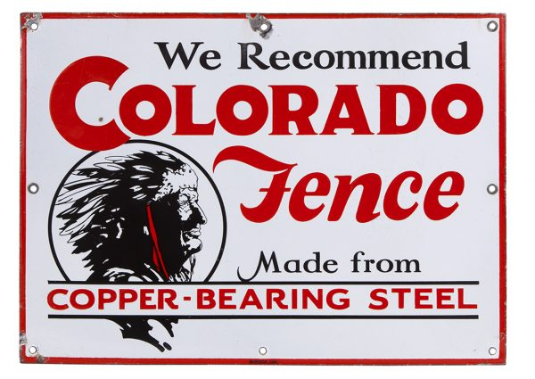 Colorado Fence Porcelain Sign