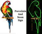 Poll Parrot Porcelain Neon Sign