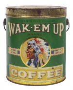 Wak-Em-Up Coffee Tin Pail