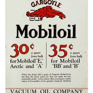 Gargoyle Mobiloil Motor Oils Sign