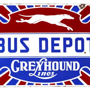 Greyhound Lines Bus Depot Porcelain Sign