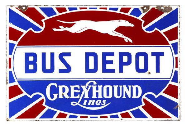 Greyhound Lines Bus Depot Porcelain Sign