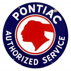 Pontiac Authorized Service Porcelain Dealership Sign