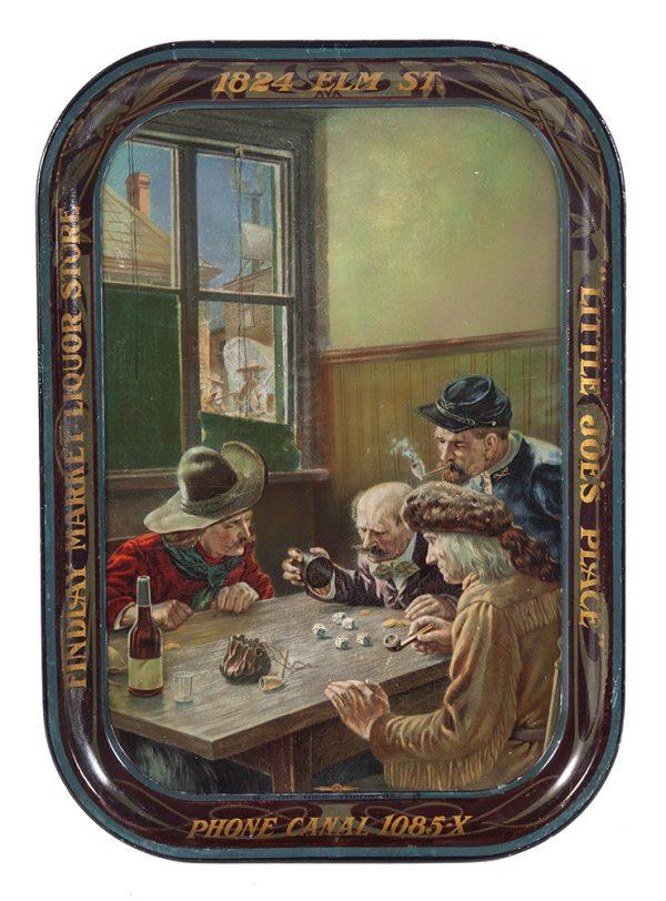 Liquor Store Western Gambling Scene Tray