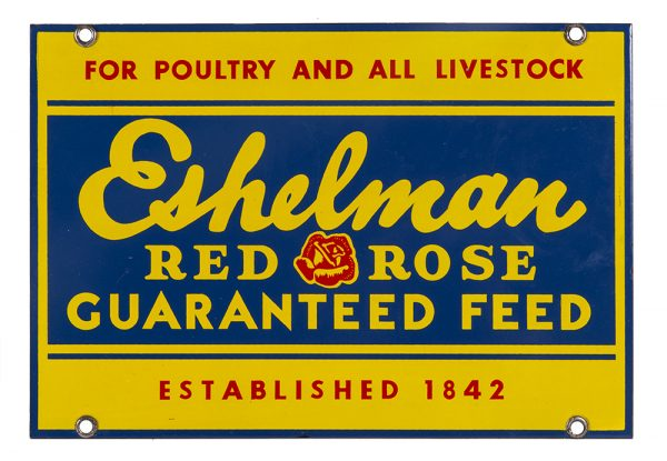 Eshelman Red Rose Feed Porcelain Sign